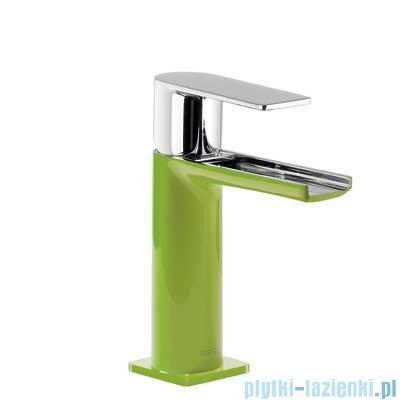 Tres Loft Colors Bateria umywalkowa z korkiem automatycznym wylewka kaskada otwarta kolor zielony 200.110.01.VE.D