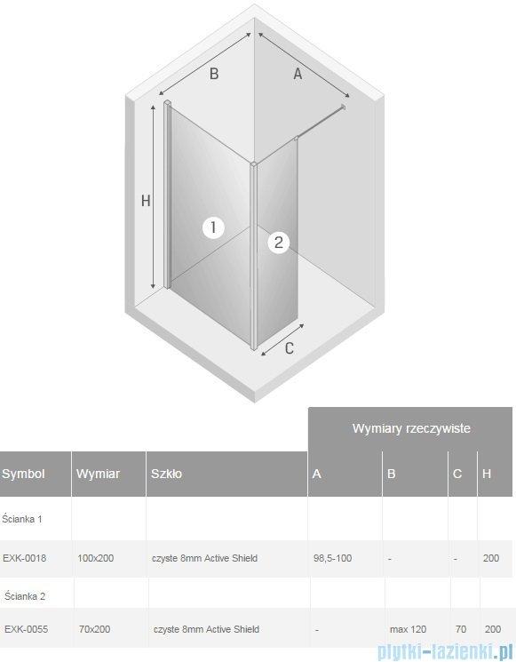 New Trendy New Modus kabina Walk-In 100x70x200 cm przejrzyste EXK-0018/EXK-0055