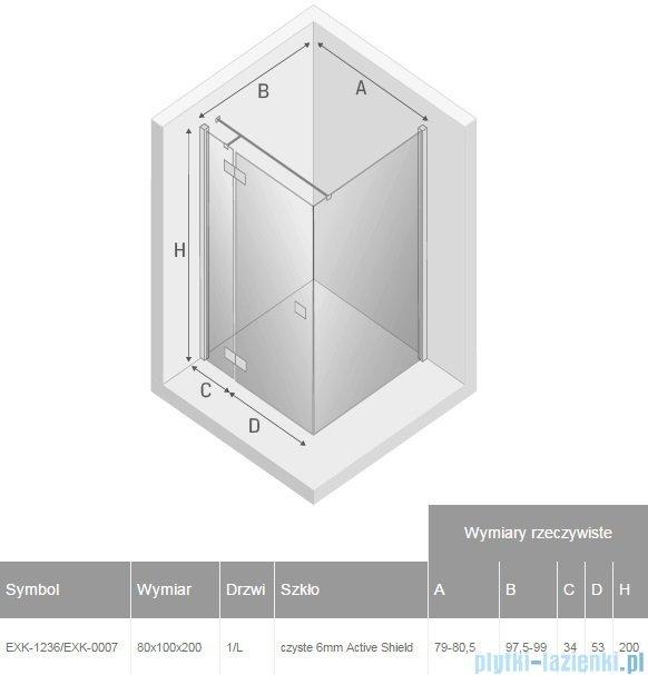 New Trendy Reflexa 80x100x200 cm kabina prostokątna lewa przejrzyste EXK-1236/EXK-0007