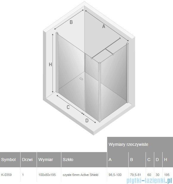 New Trendy New Soleo 100x80x195 cm kabina prostokątna przejrzyste K-0359