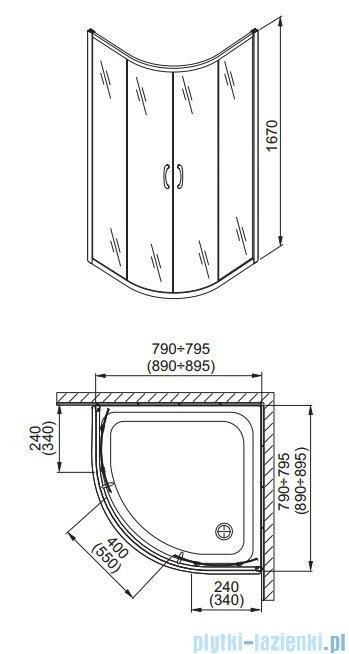 Aquaform Nigra kabina prysznicowa półokrągła 90x90x167cm chrom szkło przejrzyste 100-092121P