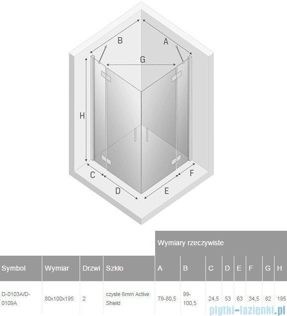 New Trendy New Renoma kabina prostokątna 80x100x195 cm przejrzyste D-0103A/D-0109A