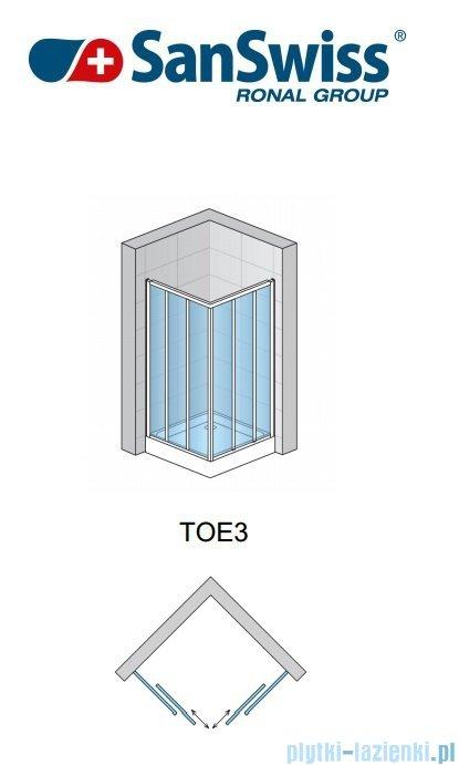SanSwiss Top-Line TOE3 Wejście narożne 3-częściowe 120cm profil biały Prawe TOE3D12000407