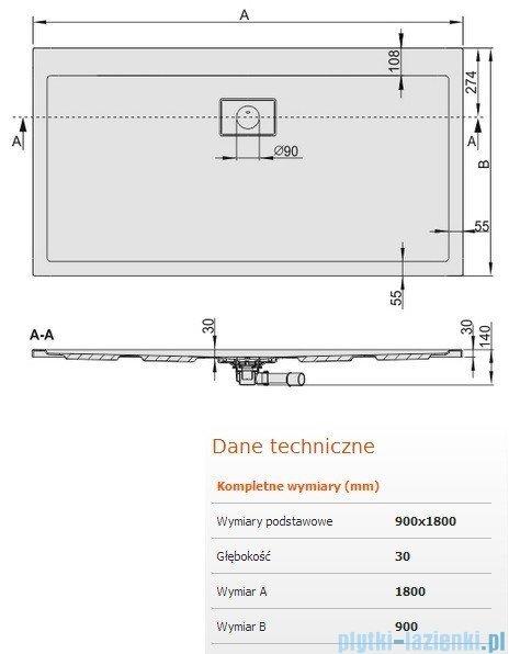 Sanplast Space Line brodzik prostokątny 180x90x3cm+syfon 615-110-0160-01-000