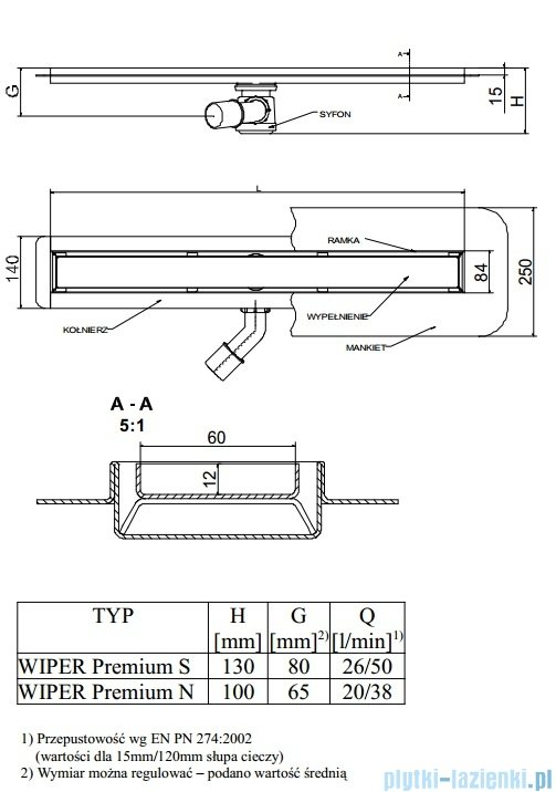 Wiper Odpływ liniowy Premium Ponente 120cm z kołnierzem szlif P1200SPS100