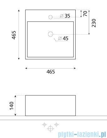 Bathco umywalka nablatowa Tenerife 46,5x46,5 cm 0017