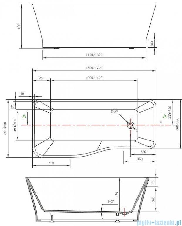 Massi Vago 170 wanna wolnostojąca prostokątna 170x80cm biała MSWA818170