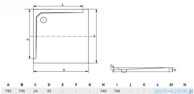 Besco Acro ultraslim 80x80x3,5cm Brodzik kwadratowy B.ACRO-80