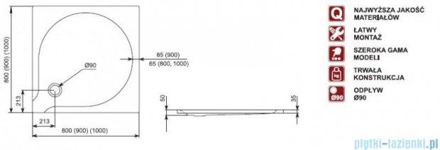 Aquaform Delta brodzik kwadratowy superpłytki 100x100x3,5cm 06909