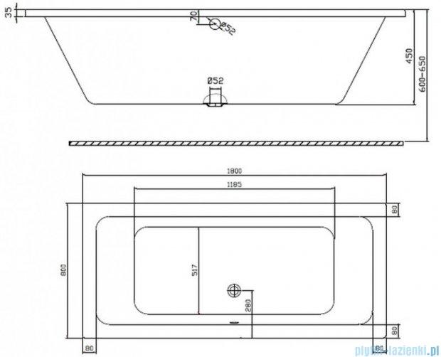 Koło Modo Wanna prostokątna 180x80cm odpływ na środku XWP1181000