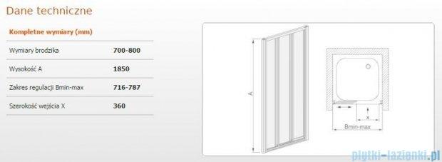 Sanplast drzwi przesuwne DTr-c-70-80 szkło Sitodruk P 600-013-1811-01-520