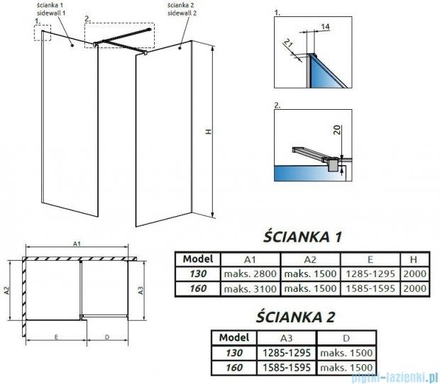 Radaway Modo New III kabina Walk-in 160x130x200 szkło przejrzyste 389164-01-01/389134-01-01/389000-01