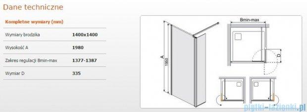 Sanplast kabina Walk-In z elementem ruchomym PR2/PRIII 140x198 cm przejrzyste 600-073-1250-38-401