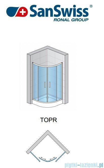 SanSwiss Top-Line TOPR Kabina prysznicowa półokrągła 90cm profil biały TOPR500900407