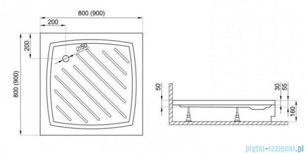 Polimat Kiara 2 brodzik kwadratowy 90x90x5 ze stelażem 00222