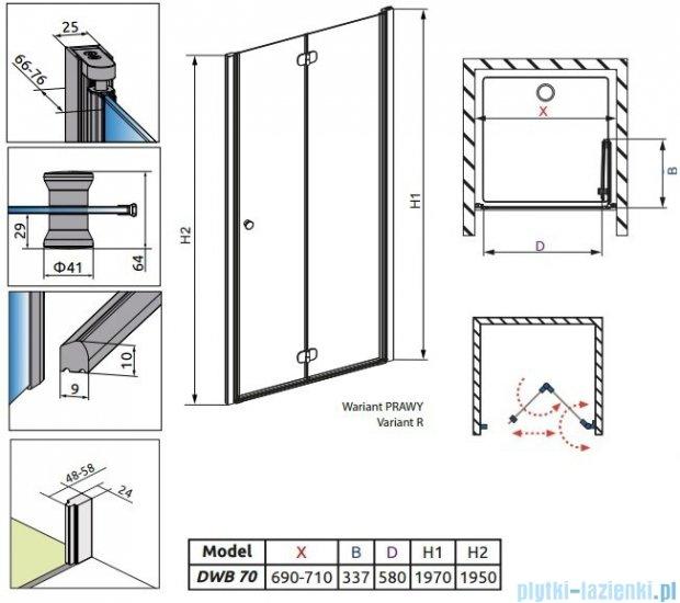 Radaway Eos DWB Drzwi wnękowe 70 prawe szkło przejrzyste 37883-01-01NR