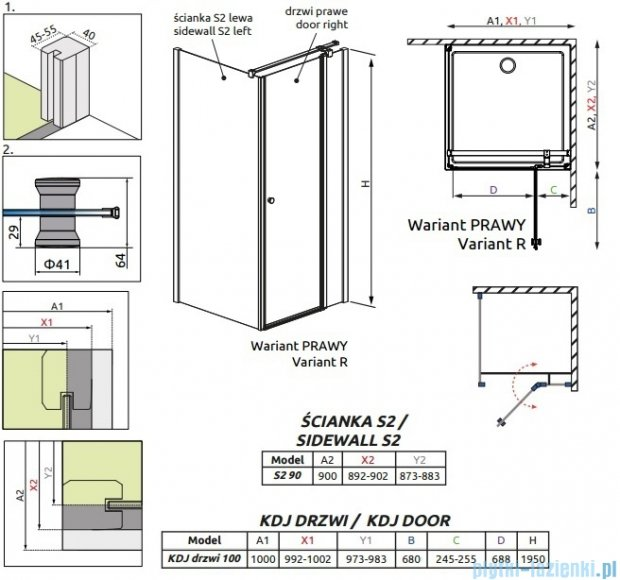 Radaway Eos II KDJ kabina prysznicowa 100x90 prawa szkło przejrzyste 3799422-01R/3799431-01L