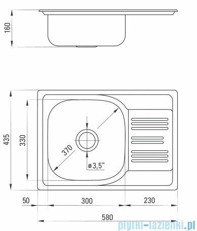 Deante  Xylo Zlewozmywak 1-komorowy z krótkim ociekaczem 58x43 cm dekor ZEX 311A