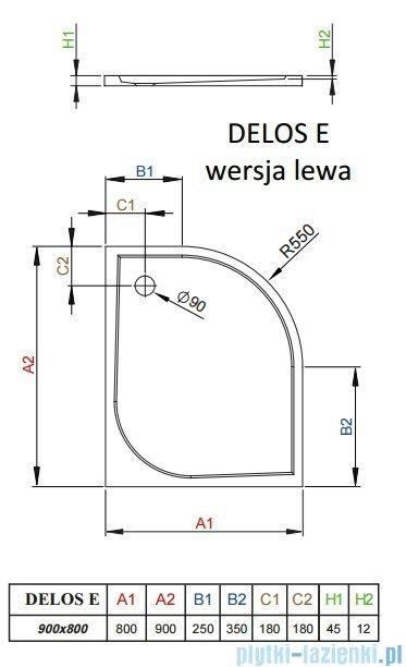 Radaway Delos E Brodzik półokrągły 90x80cm lewy SDE9080-01L