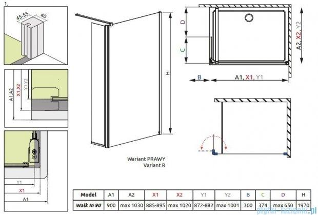Radaway Eos II Walk-in kabina prysznicowa 90 prawa szkło przejrzyste + brodzik Delos C + syfon 3799501-01R/SDC0909-01