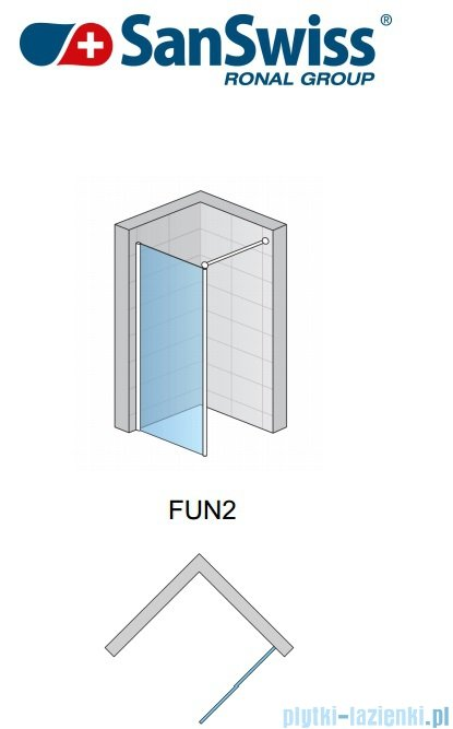 SanSwiss Fun Fun2 Ścianka jednoczęściowa 70cm profil połysk FUN207005007