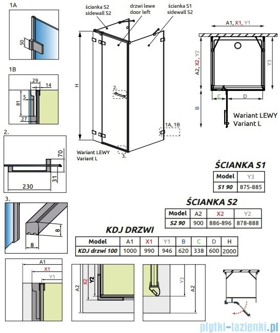 Radaway Euphoria KDJ+S Kabina przyścienna 90x100x90 lewa szkło przejrzyste 383022-01L/383050-01/383030-01