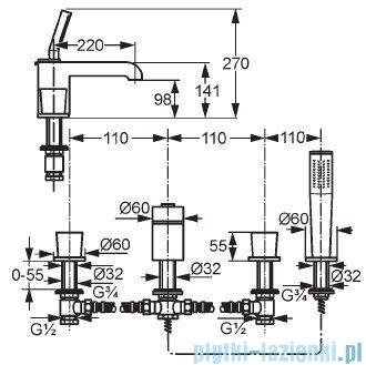 Kludi Joop Bateria wannowo-natryskowa dłuższa wylewka DN 15 chrom 554250505