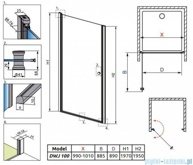 Radaway Eos DWJ Drzwi wnękowe 100 szkło przejrzyste + brodzik Delos C + syfon 37923-01-01N