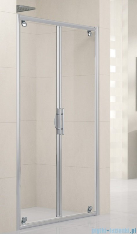 Novellini Drzwi prysznicowe składane LUNES B 102 cm szkło przejrzyste profil chrom LUNESB102-1K