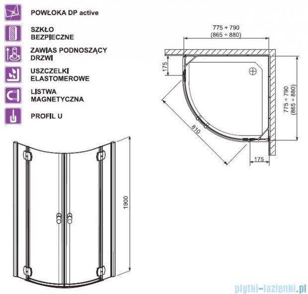 Aquaform Sol kabina prysznicowa półokrągła dwuskrzydłowa De Luxe 90cm 06041