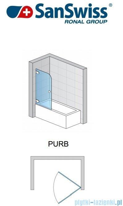 SanSwiss Pur PURB Parawan nawannowy 1-częściowy 75cm profil chrom szkło Krople Lewy PURBG07501044