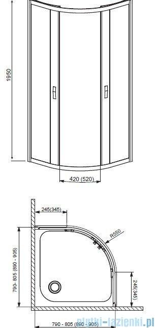 Radaway Afrodyta Kabina półokrągła 80x80 szkło grafitowe + brodzik Delos A 80+ syfon 30112-01-05