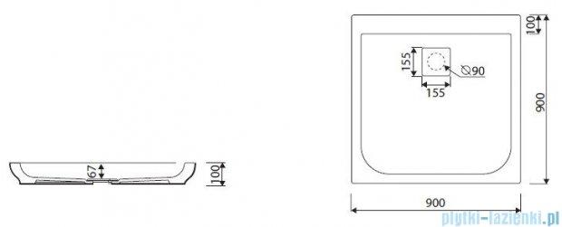 Marmorin Dione brodzik kwadratowy 90x90 cm biały 490090201