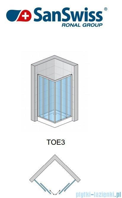 SanSwiss Top-Line TOE3 Wejście narożne 3-częściowe 90-120cm profil biały Prawe TOE3DSM20407