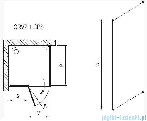 Ravak Chrome Prysznicowa ścianka stała CPS-90 satyna+transparent 9QV70U00Z1