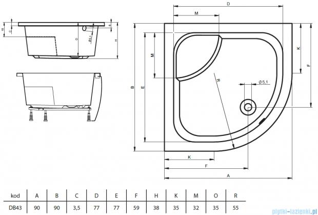 Riho Brodzik półokrągły 343 90x90x52 DB43 + nóżki + panel