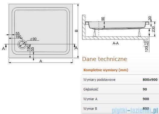 Sanplast Free Line brodzik prostokątny 90x80x9cm+stelaż 615-040-0150-01-000