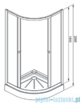 Alterna Iris kabina półokrągła 2-ścienna 80x80x185 cm szron ALTN-995846