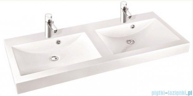 Marmorin umywalka nablatowa Moira Bis 120D, 120 cm z dwoma otworami biała 280120222012