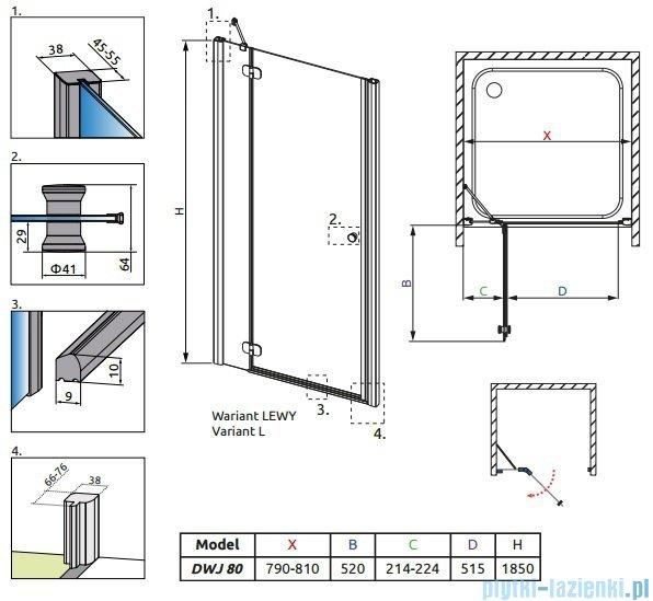 Radaway Torrenta DWJ drzwi wnękowe 80 lewe szkło przejrzyste 31910-01-01N
