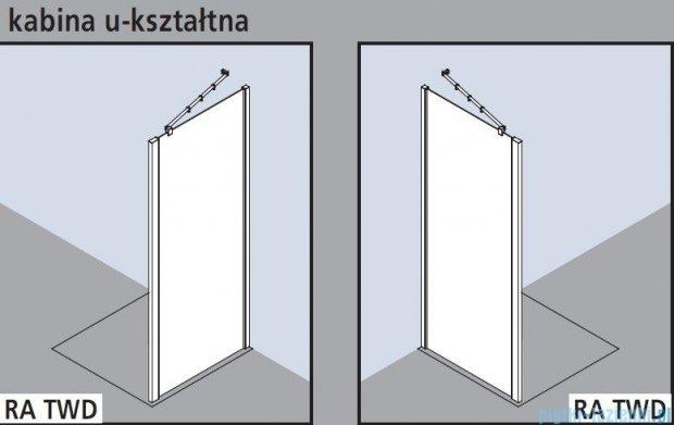 Kermi Raya Ściana boczna, szkło przezroczyste, profile srebrne 100x200 RATWD10020VAK