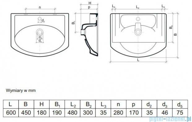 Aquaform umywalka 60cm biała 0448-170000