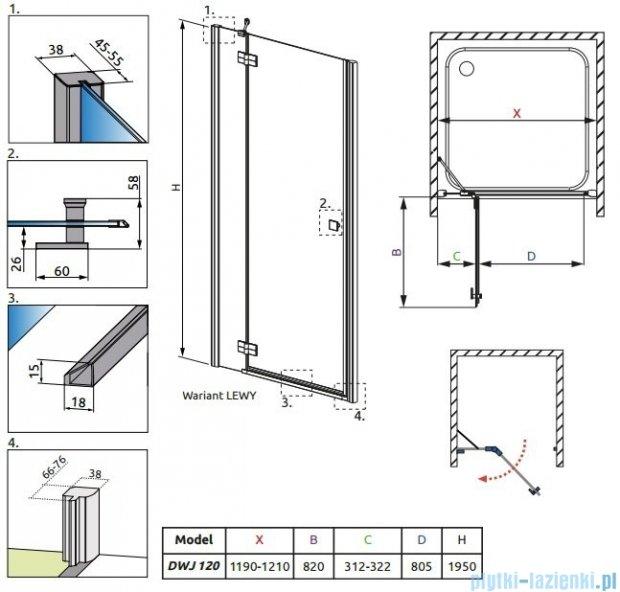 Radaway Almatea DWJ Gold drzwi wnękowe 120 lewe szkło przejrzyste 31402-09-01N