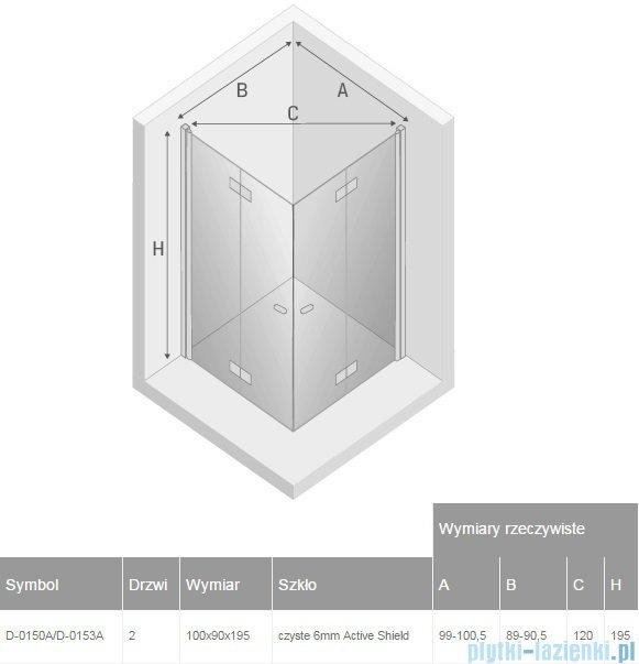 New Trendy New Soleo 100x90x195 cm kabina prostokątna przejrzyste D-0150A/D-0153A