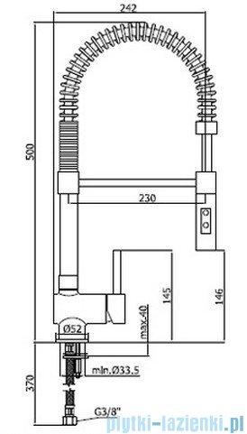 Paffoni Bateria zlewozmywakowa stojąca Stick stal szczotkowana z wyciaganą wylewką minimal SK179AC