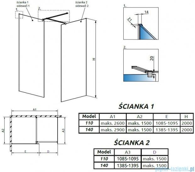 Radaway Modo New III kabina Walk-in 140x110x200 szkło przejrzyste 389144-01-01/389114-01-01/389000-01