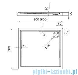 Schedpol Corrina brodzik akrylowy prostokątny 90x70x5,5cm 3.0254