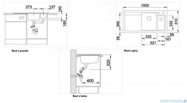 Blanco Axon II 6 S  Zlewozmywak ceramiczny komora lewa kolor: czarny z kor. aut. i akcesoriami  516555