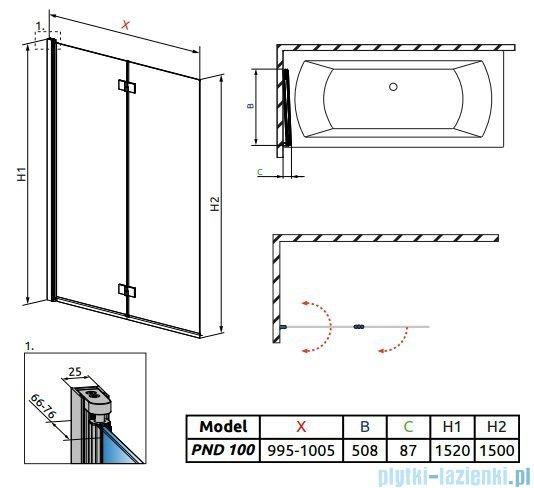 Radaway Essenza New Pnd parawan nawannowy 100cm lewy szkło przejrzyste 207210-01L