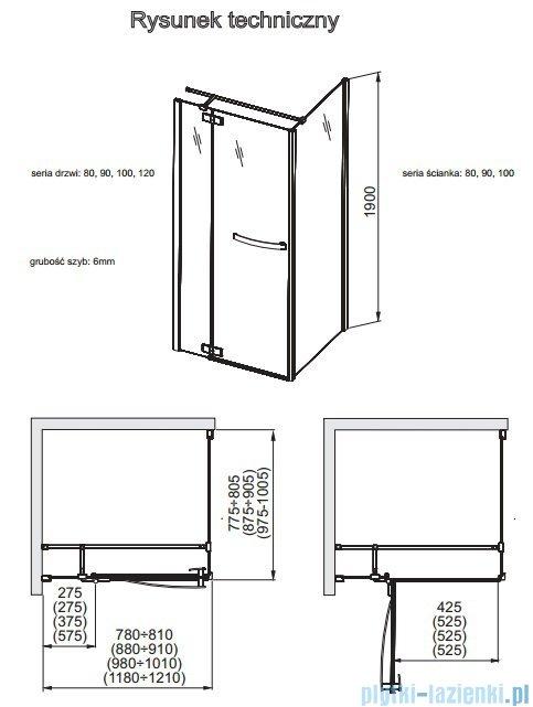 Aquaform HD Collection ścianka kabinowa 80cm przejrzyste 103-09377